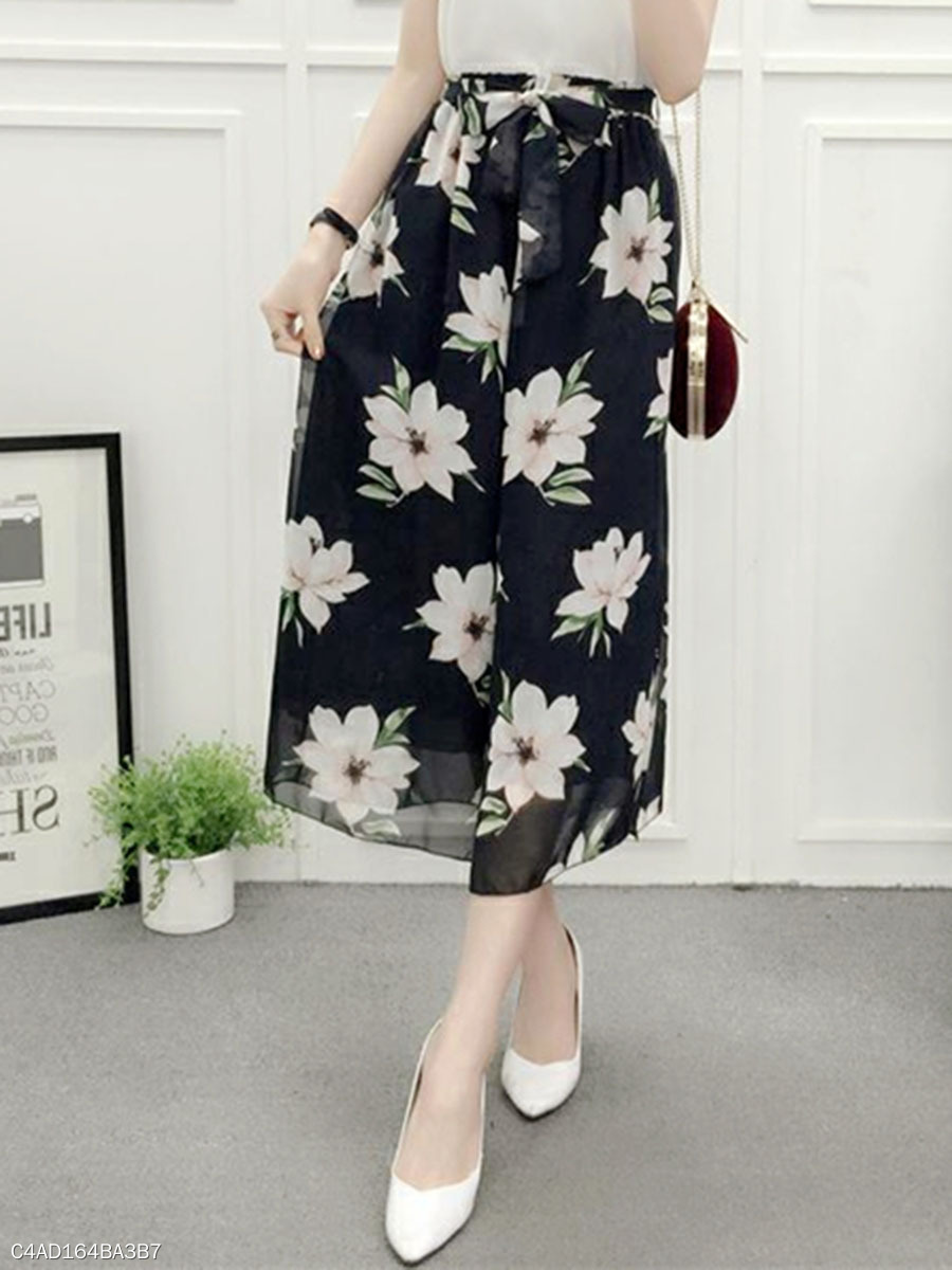 Elastic Waist Hollow Out Chiffon Wide-Leg Casual Pant In Floral Printed