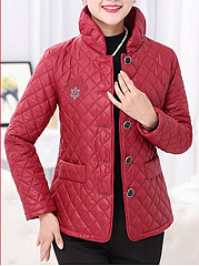 Band Collar Flap Pocket Quilted Embroidery Coat