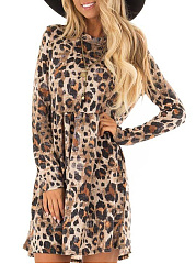 Crew Neck  Leopard Casual Shift Dress
