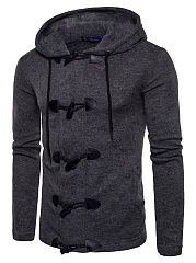 Hooded  Single Breasted  Plain Men Coat