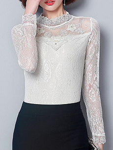 High Neck  Patchwork  Lace Long Sleeve T-Shirts