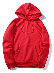 Loose Solid Drawstring Kangaroo Pocket Men Hoodie