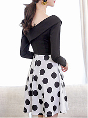 Surplice  Patchwork Ruffled Hem  Color Block Polka Dot Skater Dress