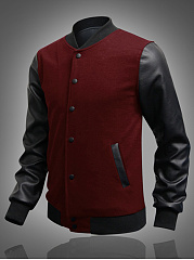 Band Collar  Patchwork Pocket Men Jacket