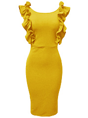Round Neck Ruffle Trim Plain Midi Bodycon Dress