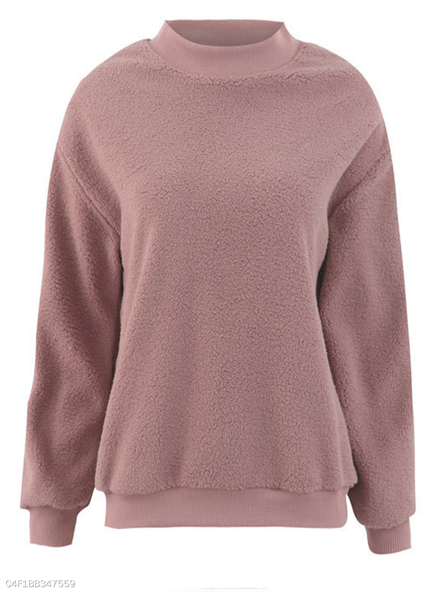 Round Neck  Plain  Long Sleeve Sweatshirts