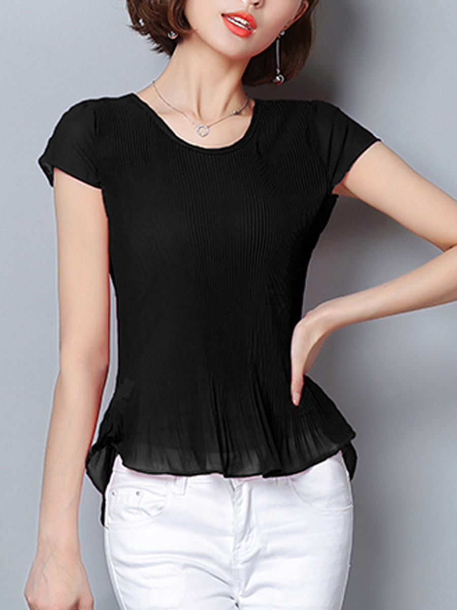 Round Neck Plain Pleated High-Low Short Sleeve T-Shirt