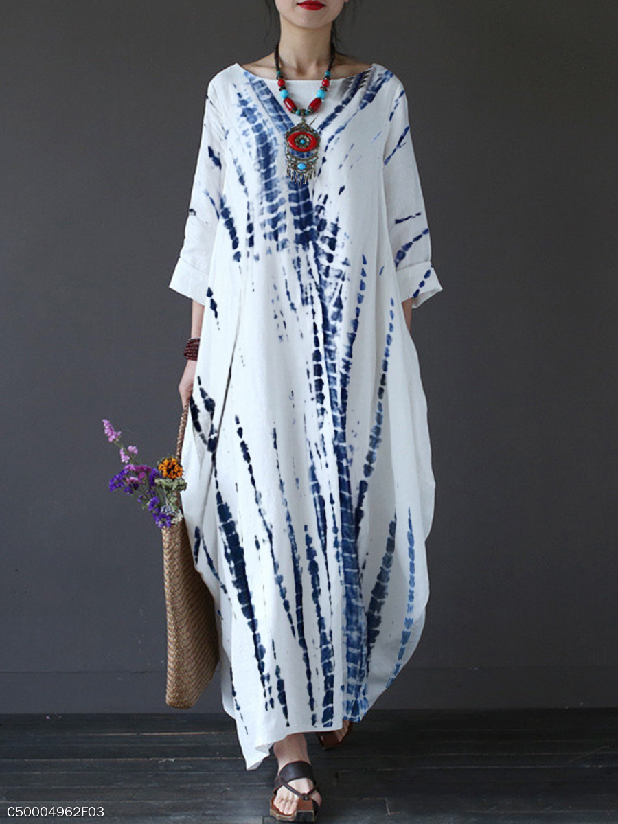 Round Neck  Tie/Dye Maxi Dress