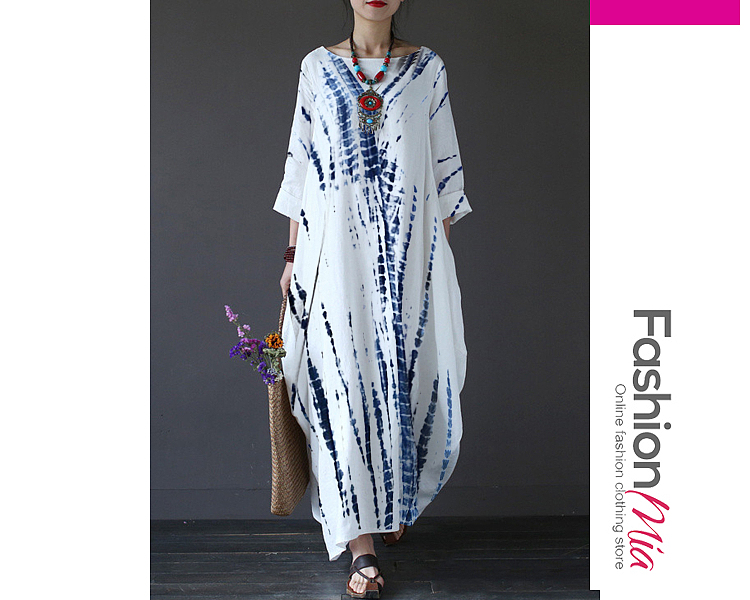 style:fashion, material:cotton/linen, collar&neckline:round neck, sleeve:long sleeve, pattern_type:tie/dye, length:ankle-length, how_to_wash:cold gentle machine wash, supplementary_matters:accessory is excluded.,all dimensions are measured manually with a deviation of 2 to 4cm., occasion:casual, season:autumn,winter, package_included:dress*1, lengthbustwaist