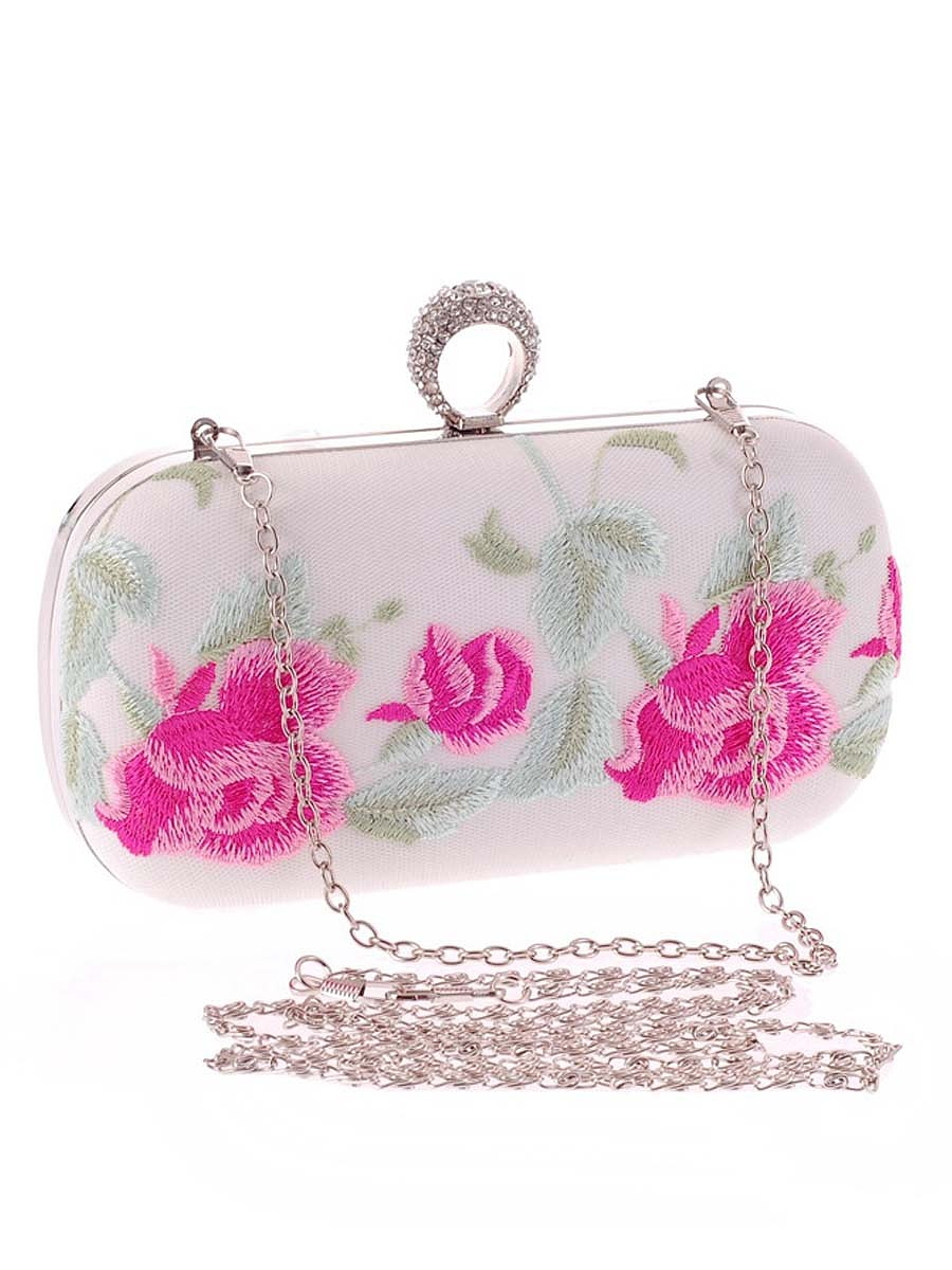 Floral Embroidery Evening Clutch Bag