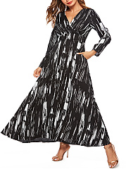 V-Neck  Printed Casual Maxi Dress