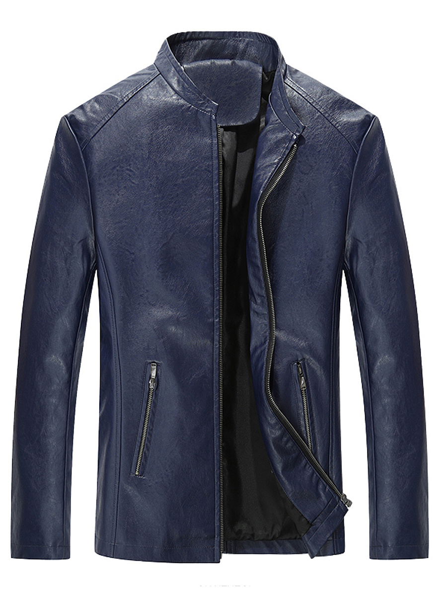 Men Band Collar Plain PU Leather Biker Jacket