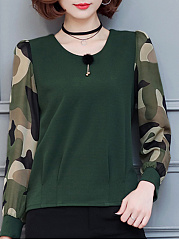 Autumn Spring  Acrylic Cotton Blend  Women  Round Neck  Camouflage  Long Sleeve Blouses