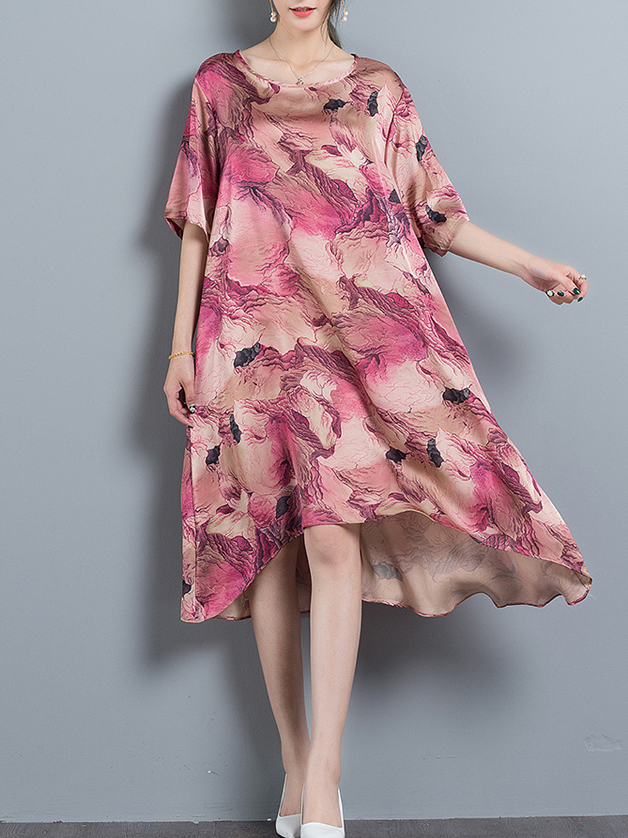 Colorful Abstract Print Round Neck Oversized Shift Dress