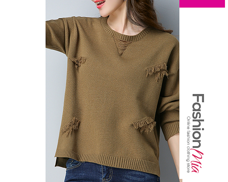 Round Neck  Slit  Plain  Long Sleeve Sweaters Pullover