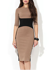 Crew Neck  Color Block Bodycon Dress