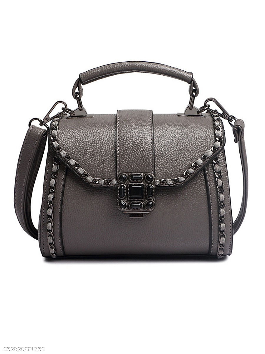 PU Diamante Plain Shoulder Bag