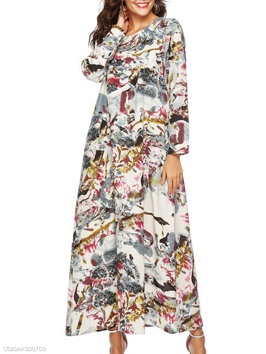 Round Neck  Oversized Casual Printed Maxi Dress