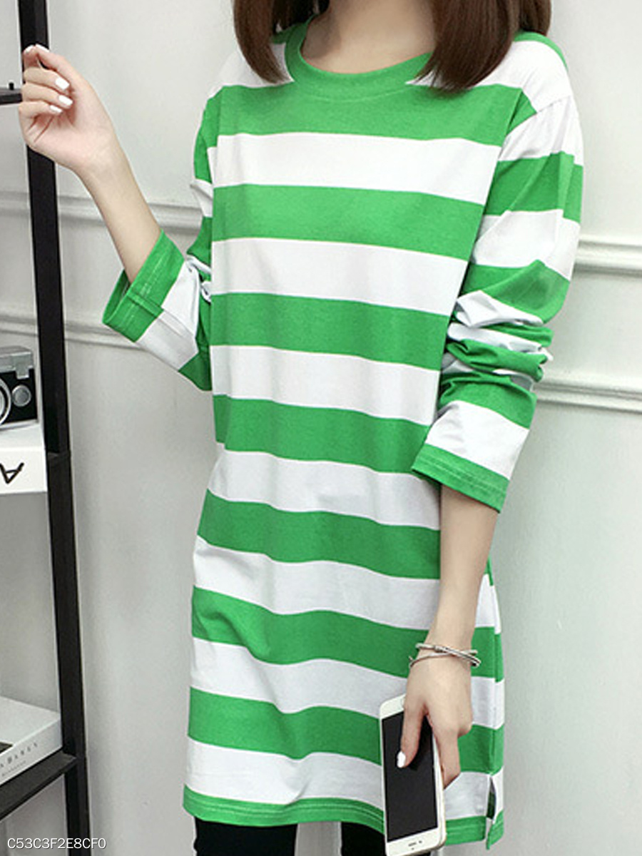 Autumn Spring Winter  Spandex  Women  Round Neck  Color Block Striped Long Sleeve T-Shirts