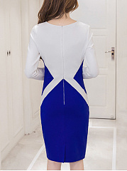 Boat Neck  Geometric  Blend Bodycon Dress