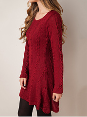 Round Neck Embossed Plain Longline Sweater