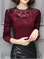 Crew Neck  Patchwork See-Through Blouse