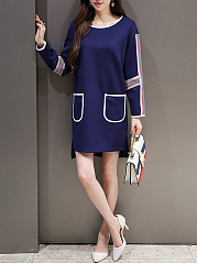Round Neck  Contrast Trim Patch Pocket  Color Block Shift Dress