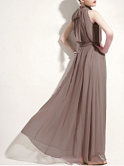 High Neck Belt Plain Chiffon Sleeveless Maxi Dress
