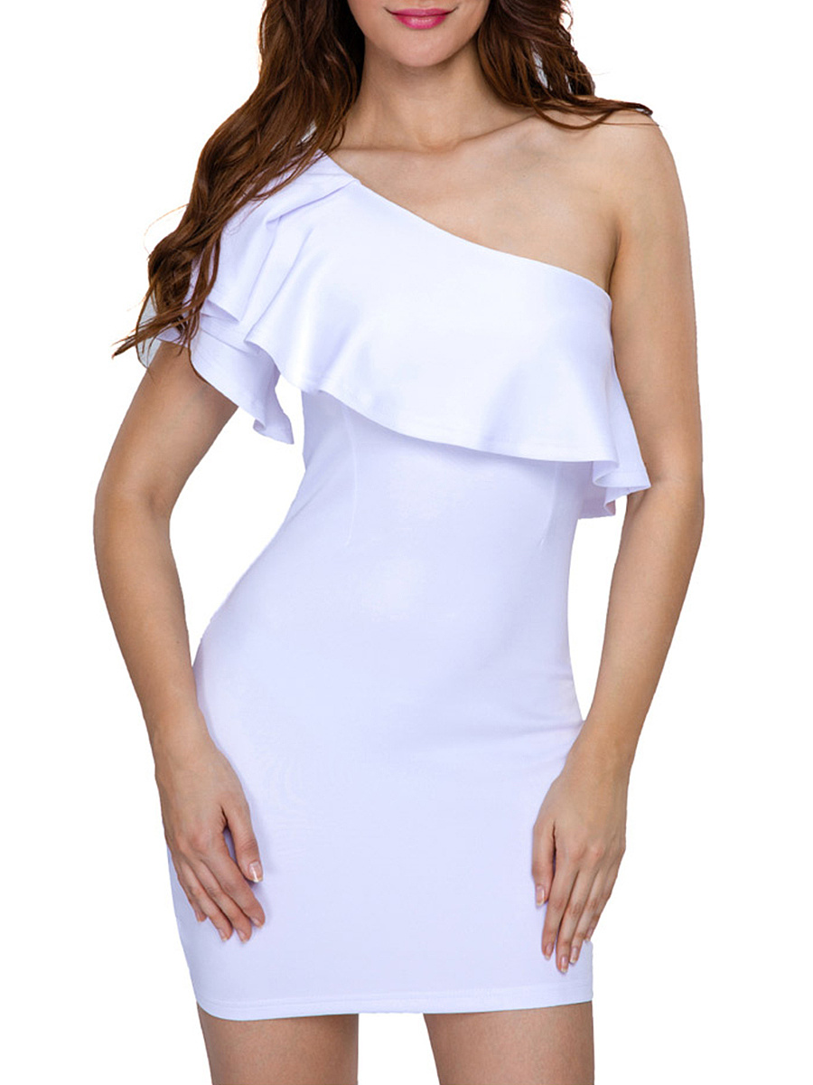 One Shoulder Mini Flounce Plain Bodycon Dress