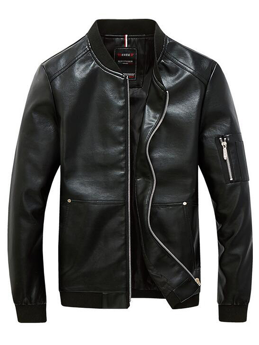 Black Band Collar PU Leather Men Jacket