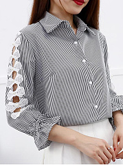Autumn Spring  Cotton  Women  Turn Down Collar  Decorative Lace Single Breasted  Hollow Out Striped  Long Sleeve Blouses