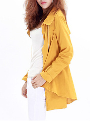 Belt Storm Flap  Plain  Long Sleeve Trench Coats