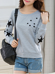 Autumn Spring  Cotton  Women  Round Neck  Star Long Sleeve T-Shirts