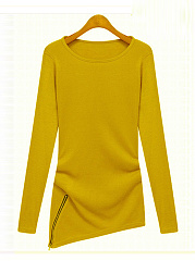 With Zipper Irregular Hem Plain Long-Sleeve-T-Shirts
