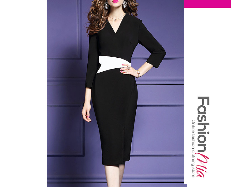 Deep V-Neck  Colouring Bodycon Dress