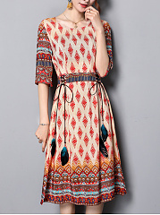 Round Neck  Tassel  Printed Maxi Dress