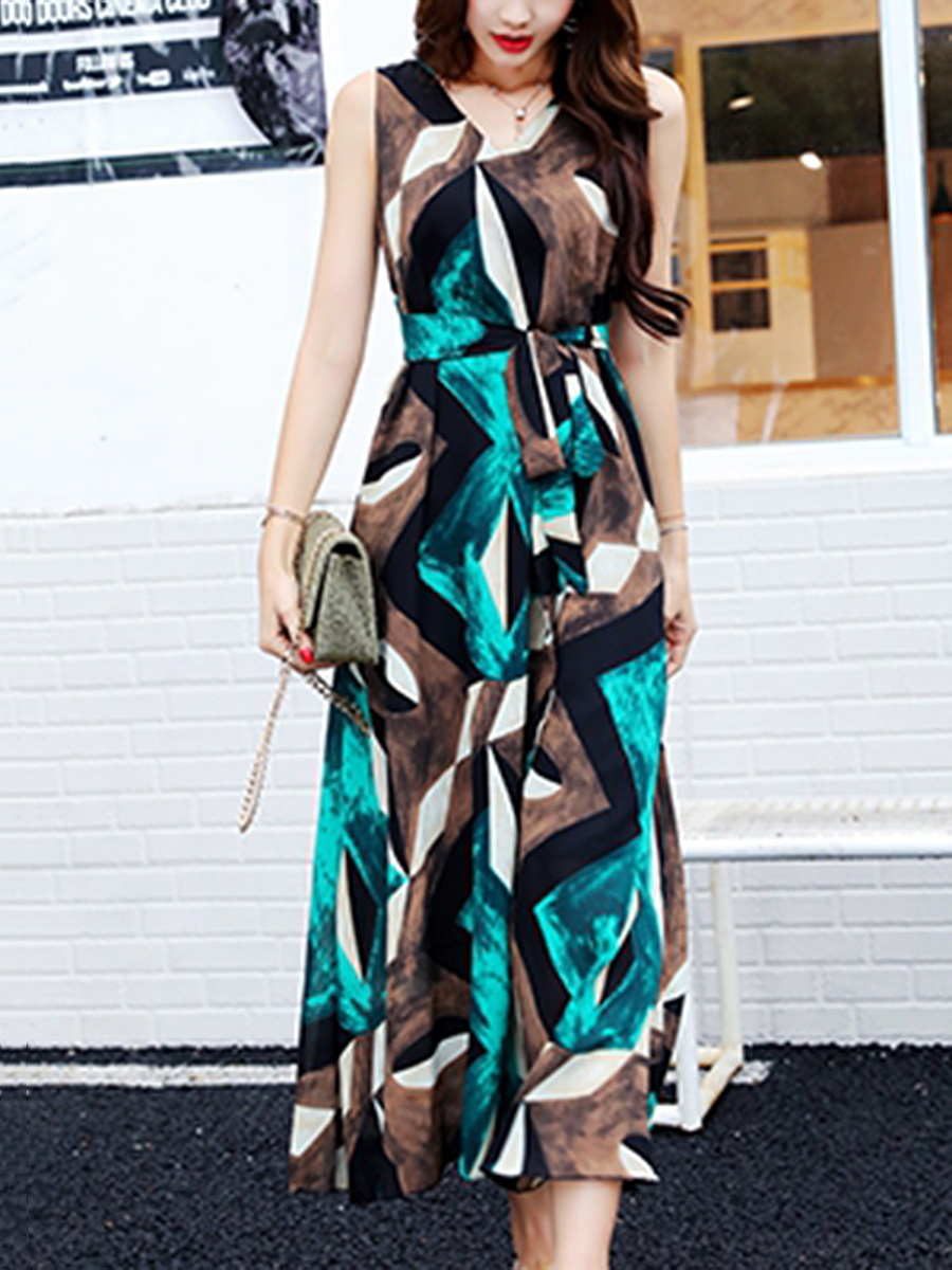 Flowy V-Neck  Color Block  Chiffon Maxi Dress
