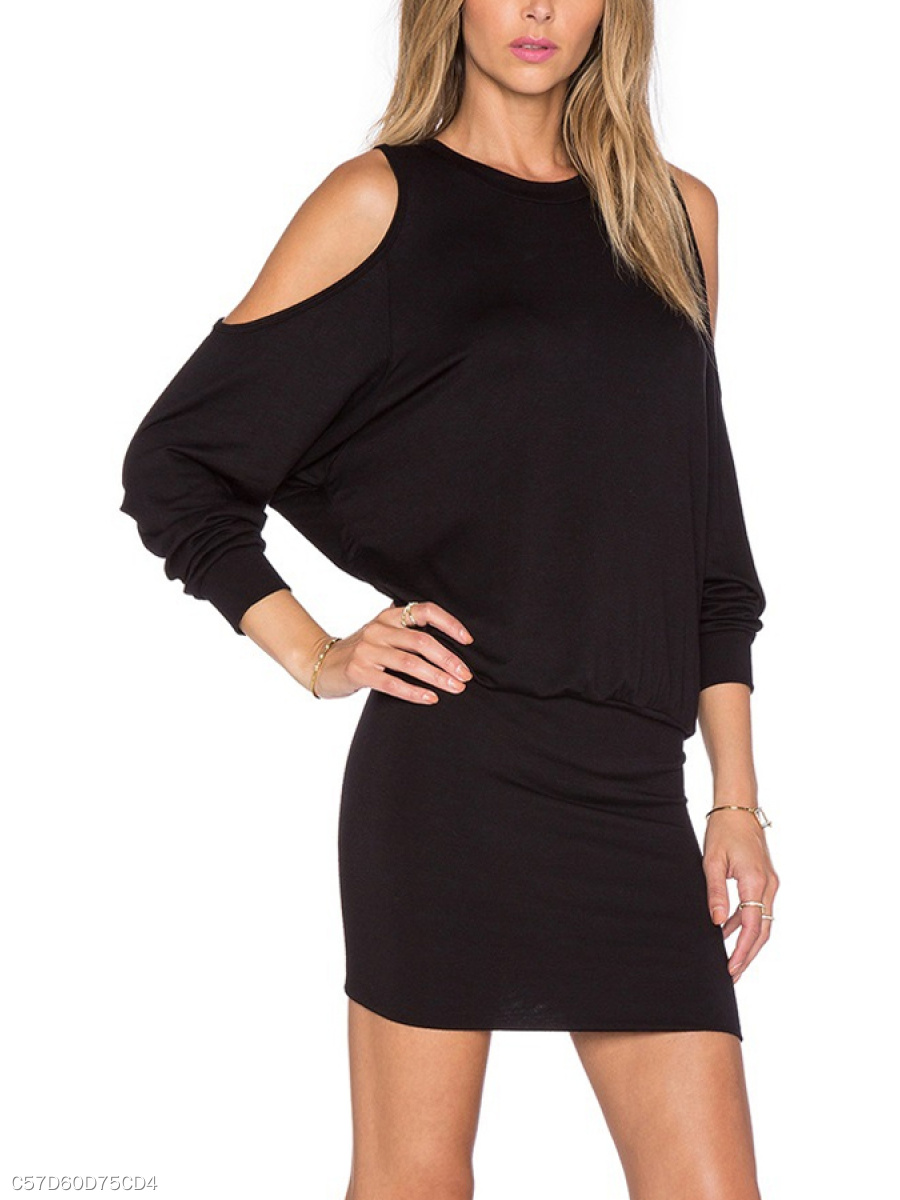 Crew Neck  Plain  Half Sleeve Bodycon Dresses