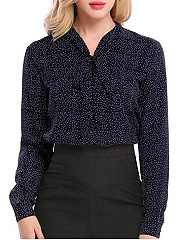 Autumn Spring  Women  Floral Polka Dot  Long Sleeve Blouses