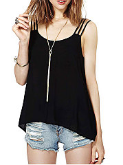 Summer  Polyester  Women  Round Neck  Backless  Decorative Button  Plain Sleeveless T-Shirts