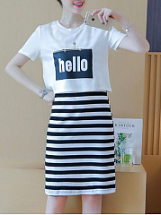 Round Neck  Letters Striped Shift Dress