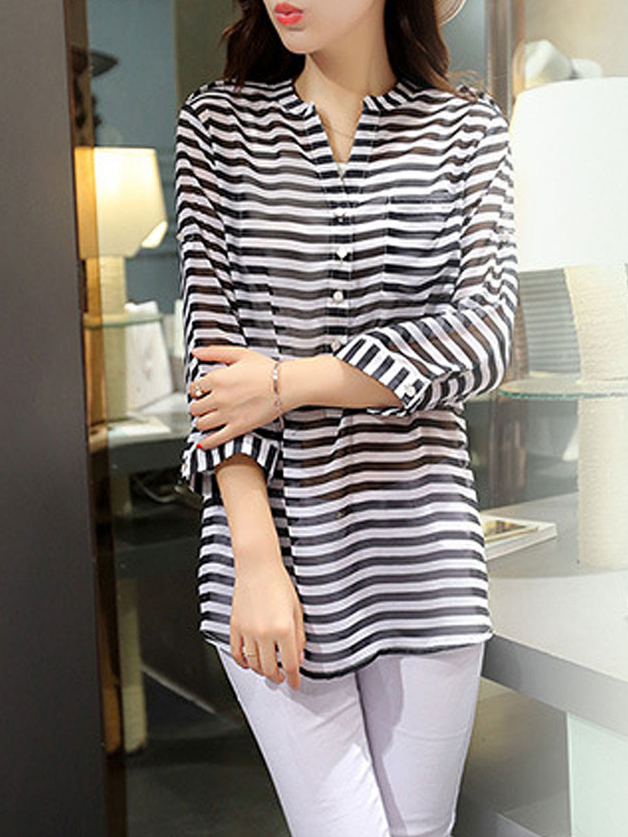 Spring Summer  Polyester  Women  V-Neck  Decorative Button  Striped  Roll-Up Sleeve  Half Sleeve Blouses