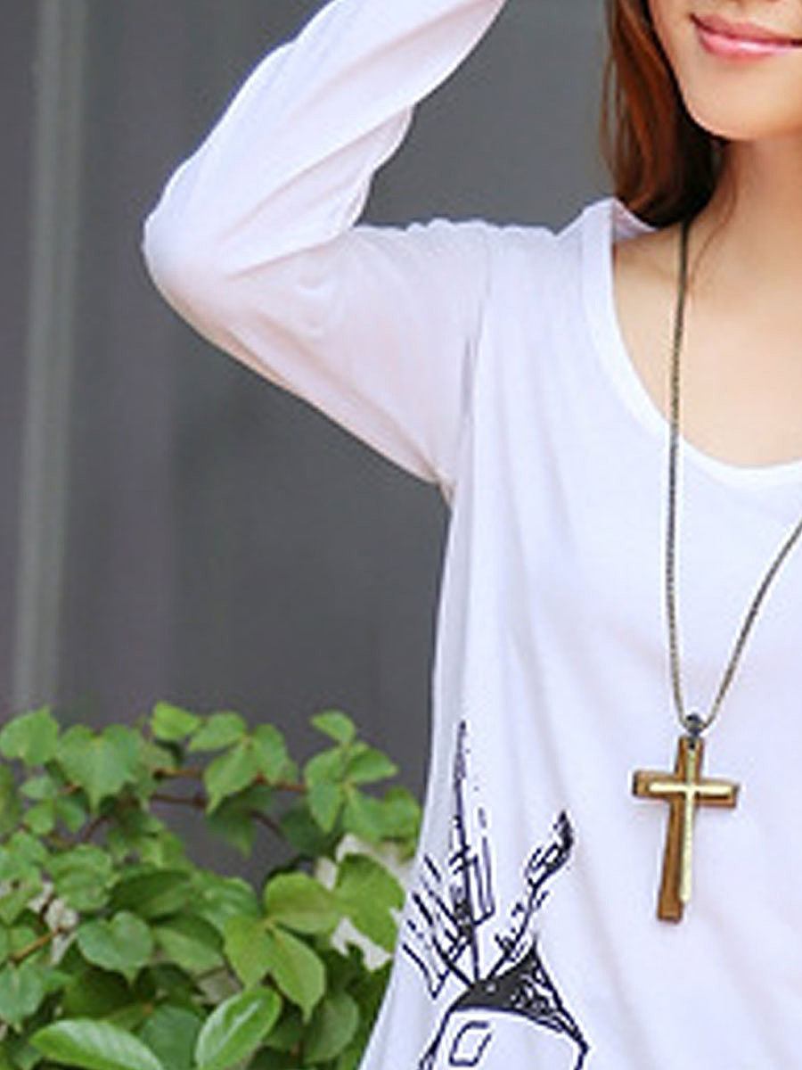 Autumn Spring  Women  Round Neck  Printed Long Sleeve T-Shirts