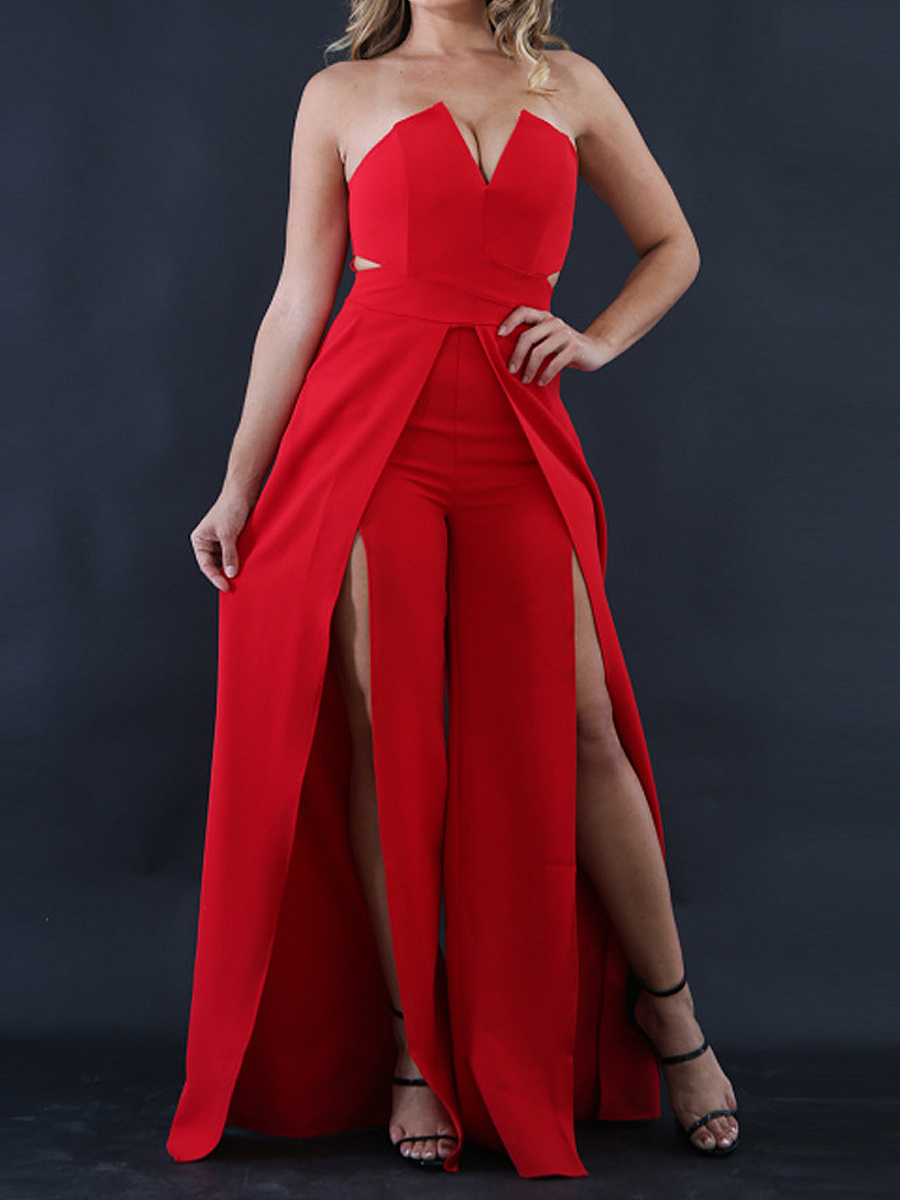 Hot Europe Style Sexy  Cutout  Plain  Wide-Leg  High-Rise Jumpsuits