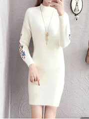 Round Neck  Embroidery Plain Bodycon Dress