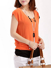 Round Neck  Color Block Short Sleeve T-Shirts