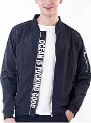Men-Band-Collar-Flap-Pocket-Letters-Bomber-Jacket