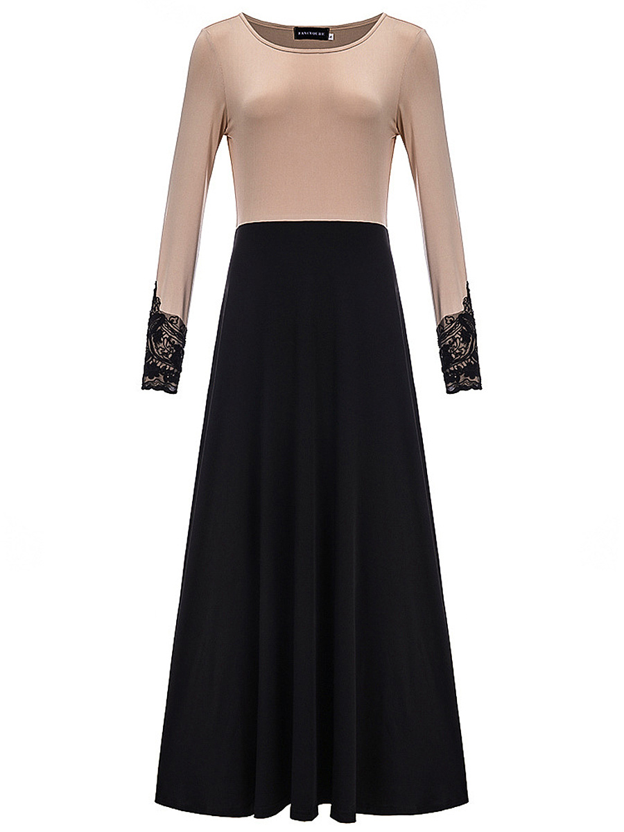 Round Neck Color Block Decorative Lace Maxi Dress