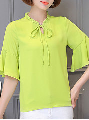 Spring Summer  Chiffon  Women  Tie Collar  Floral  Bell Sleeve  Half Sleeve Blouses