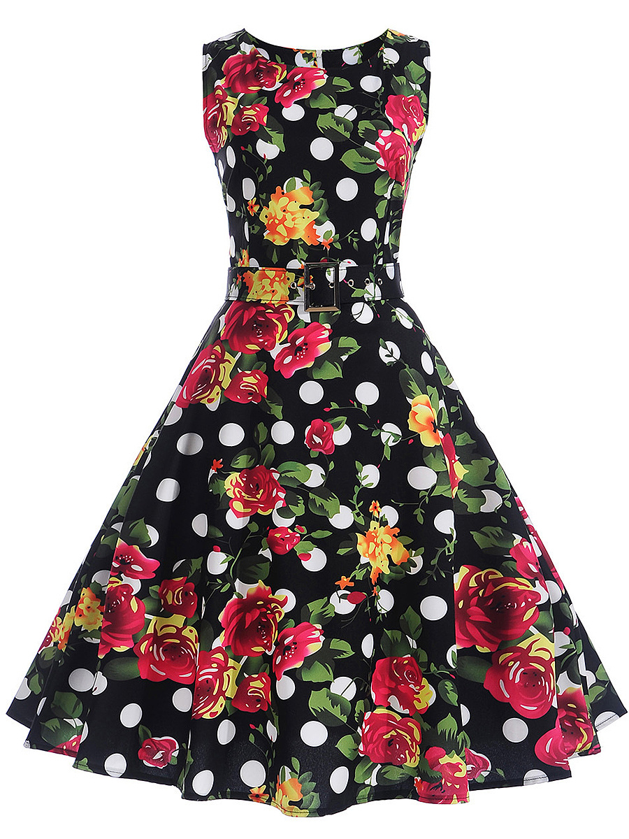 Retro Floral Polka Dot Belt Round Neck Skater Dress